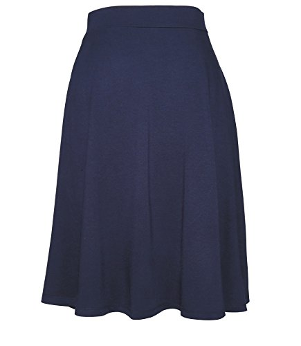 Favelem Women's Lightweight High Waist A Line Pleated Knee Length Skater Skirts (Small, Navy Blue)