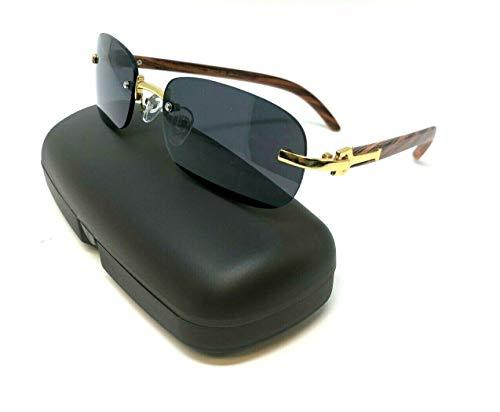 (Dapper Slim Rimless Oval Metal & Wood Aviator Sunglasses (Gold & Cherry Wood w/Case, Black))