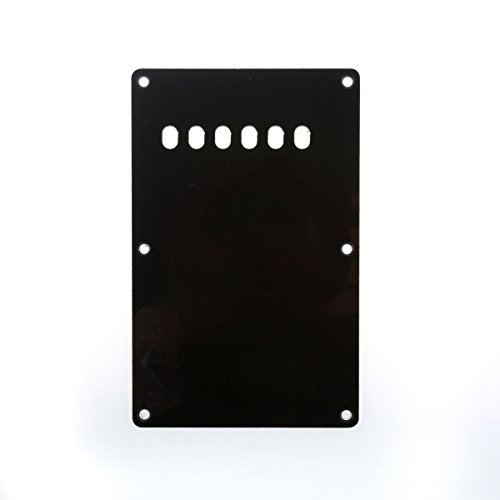 Musiclily 6 Hole Guitar Back Plate Tremolo Cavity Cover Backplate for China Made Squier Guitar Parts,3Ply Black