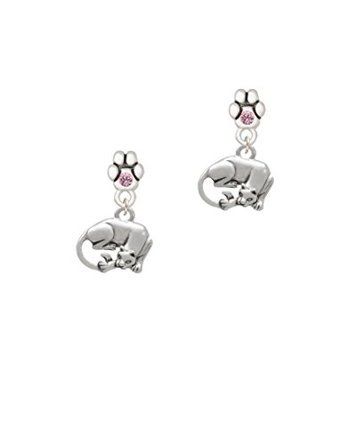 Pink Panther Ears (Panther - Pink Crystal Paw Earrings)