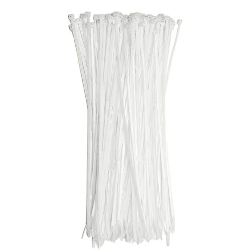 "12"" Inch Zip Ties White (100 Pack), 40lb Strength, Nylon Cable Wire Ties, By Bolt Dropper."