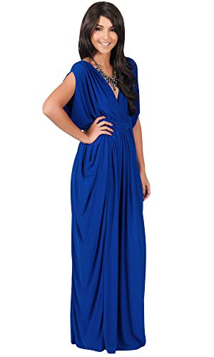 KOH KOH Petite Womens Long V-Neck Summer Grecian Greek Bridesmaid Wedding Party Guest Flowy Formal Evening Slimming Vintage Maternity Gown Gowns Maxi Dress Dresses, Cobalt/Royal Blue S 4-6 -
