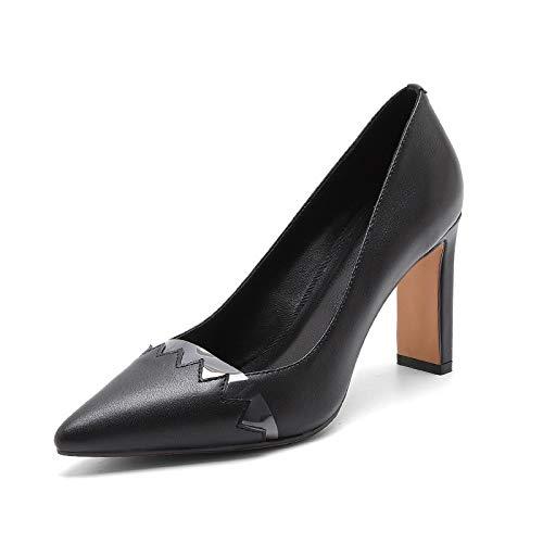 Cuir Glter Pour De Printemps Confortables 2019 Et D'été Noir En Pointus Chaussures Talons Femmes EEq40r