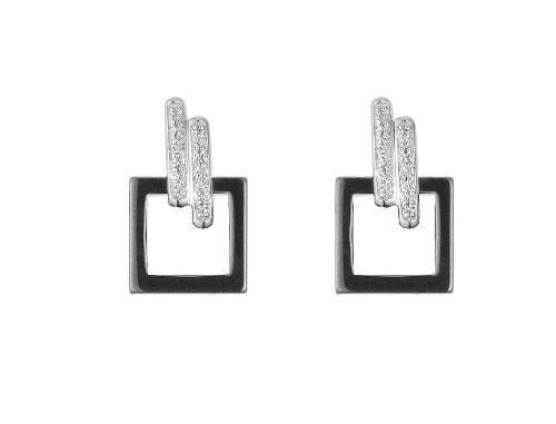 Ceranity - 1-48/0005-N - Boucles d'Oreilles Femme - Argent 925/1000 2.4 gr - Diamant - Blanc