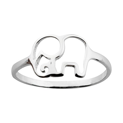 ELBLUVF 925 Sterling Silver Elephant Animal Lucky Ring Jewelry Bridesmaid Gift Favor - Ring Elephant