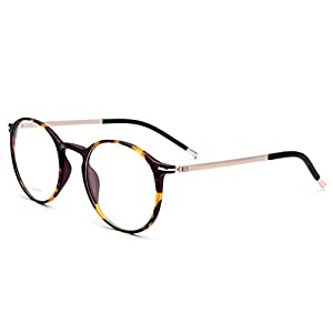 FONEX Men Titanium Alloy Optical Prescription Glasses Frame Eyewear 725 (leopard, clear)