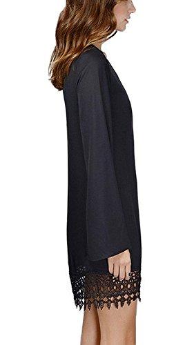 Vestidos Manga Larga Verano Gasa Encaje Camisetas Mujer Franja Borlas Tops Suelta Mini Vestido Blusa de Moda - Landove Negro 02