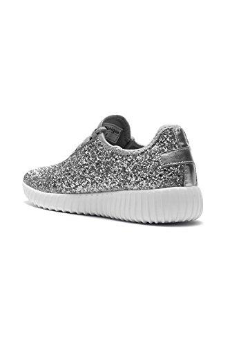 Herstyle Frauen Moniqie Glitter flache Ferse, Glitzer Details, vorne schnüren sich oben, Mode Sneaker Silber