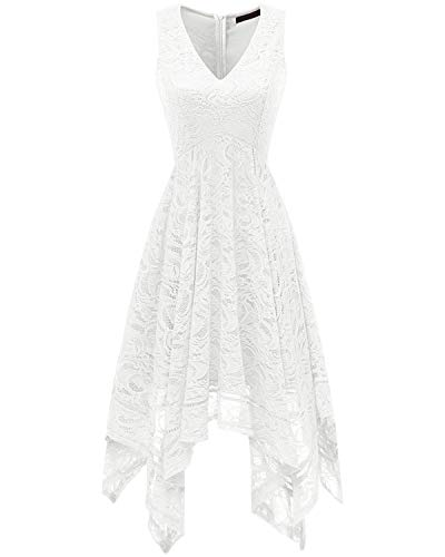 Bridesmay Women's Elegant V-Neck Sleeveless Asymmetrical Handkerchief Hem Floral Lace Cocktail Party Dress White S
