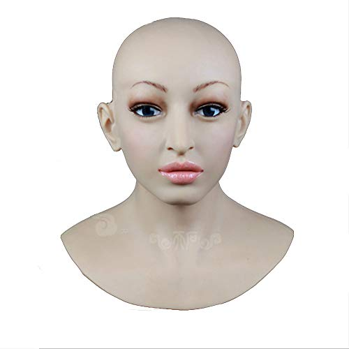 BTTBS-MJ Soft Silicone Realistic Lady Head Mask Handmade Face for Crossdresser Transgender Cosplay Halloween Masquerade COS Transvestite,MouthClosed]()