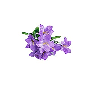 Smart Sense Artificial Purple Petunia Bush Silk Petunia Flowers (15 inch) for Wedding Decor - 6 Flower Bush(1pc Purple) 45
