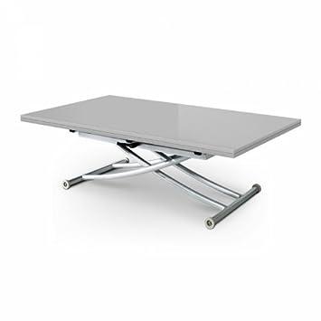 Table basse relevable extensible gris laqué 8 places STUDIO ...