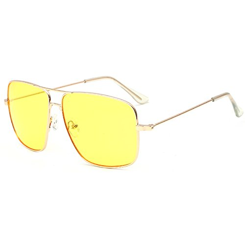 Dollger Night Vision Glasses Oversized Stylish Eyeglasses with Yellow Lenses for Driving at Night UV400 Protection
