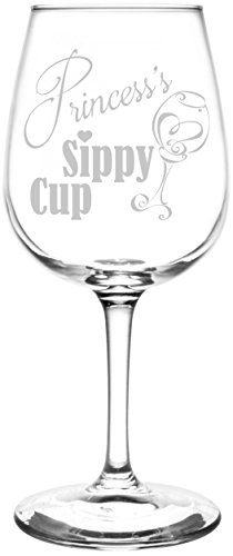 (Princess) Funny Sippy Cup Novelty Present & Gift Idea Inspired - Laser Engraved 12.75oz Libbey All-Purpose Wine Taster Glass