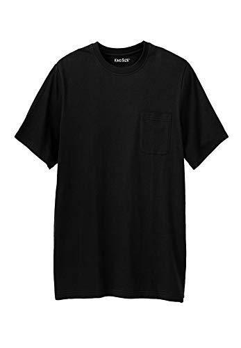 KingSize Men's Big & Tall Shrink-Less Lightweight Longer-Length Crewneck Pocket T-Shirt, Black Big-5XL