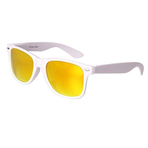 Nerd Sunglasses Matt Rubber Style Retro Vintage Unisex Glasses Spring Hinge Black - 24 Different Models (White-Yellow, - Bans Yellow Ray Wayfarer