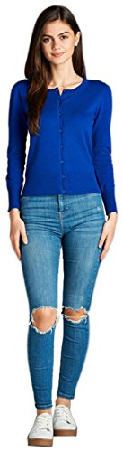 ToBeInStyle Women's L.S. Button Up Ribbed Crew Neck Cardigan - B Royal - Medium