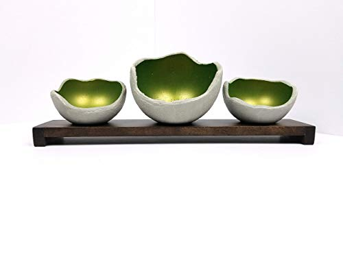 Decorative Concrete Bowl - Emerald - Air Plant Holder - Candle Holder - Smudge Bowl