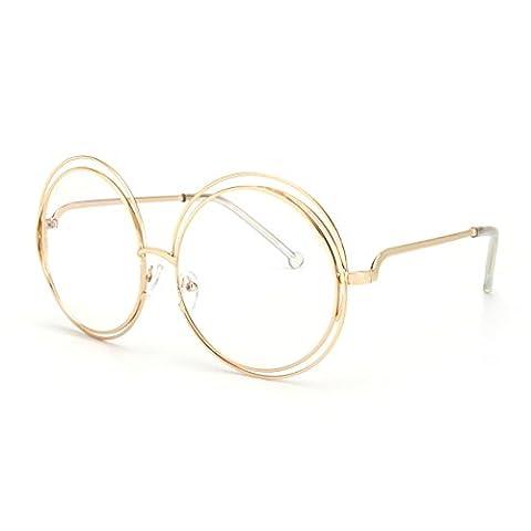 ROYAL GIRL Vintage Round Sunglasses Women Double Circle Frame Clear Lens Glasses (Gold Gim Clear Lens, - Wire Frame Gradient Sunglasses