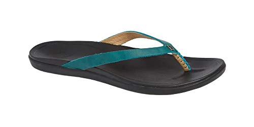 (OLUKAI Women's Ho'Opio Leather Sandal, Paradise/Black, 7 M US)