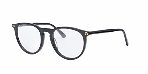 Gucci GG 0027O 001 Black Plastic Round Eyeglasses 50mm by Gucci
