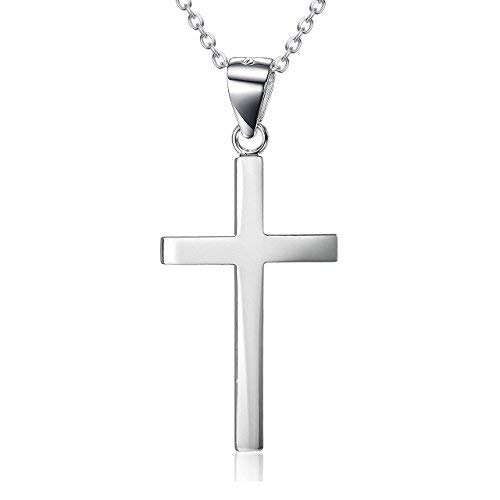 LUHE Small Cross Necklace Sterling Silver White Gold Plated Father Daughter Necklace for Boys Girls Men Women