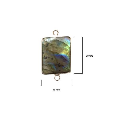 (2 Pcs Natural Labradorite Rectangle Beads 15X20mm silver by BESTINBEADS, Natural Labradorite Rectangle Pendant Bezel Gemstone Connectors over 925 sterling silver bezel jewelry making supplies)