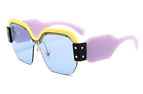 - FEISEDY Candy Women Fashion Semi Rimless Oversized Sunglasses Acetate Frame B2278