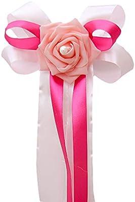 Kentop Car Bows Wedding Car Decoration Rose Bows Wedding Car Decoration for Rear View Mirror Door Handle 35/×17cm Satin Blue