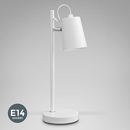 B.K.Licht Lampara de mesa con pantalla en tela I Iluminacion de ambiente I Para escritorio, dormitorio y sala de estar