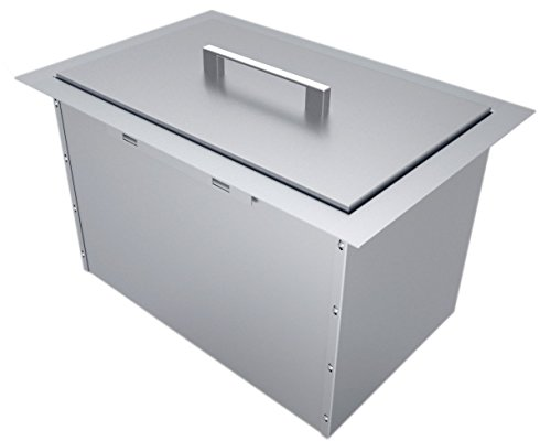 """SUNSTONE B-IC14 Over/Under Height Single Basin Insulated Wall Ice Chest with Cover, 14"""" x 12"""", Stainless Steel"""