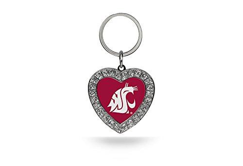 Rico NCAA Washington State Cougars Rhinestone Heart Keychain