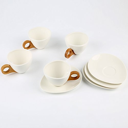 Exquisite Coffee Tea Cups with Saucers Porcelain Pack of 4 White Ceramic China 5.8oz Durale Tea Cups Set of 4 for Coffee Drinks, Cafe Mocha, Latte and (Exquisite Porcelain)