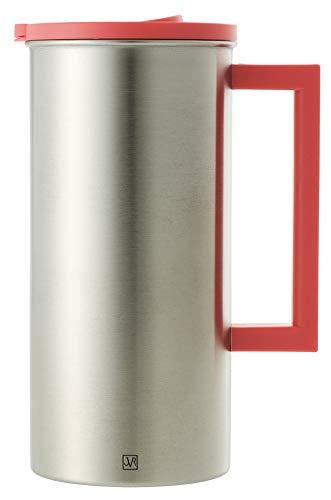 JVR Stainless Steel Water Pitcher with Lid | 1.6-L / 57-oz Thermal Carafe for Water, Coffee, Juice, Ice Tea, Lemonade, Sangria & Milk | BPA-Free, Premium Stainless Steel Pitcher with Handle | Coral (Milk Water Pitcher)