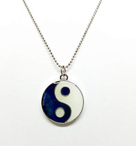 (Cool Jewels® Mood Yin Yang Pendant Necklace with Silvertone Chain, Adjustable 16 Inch)