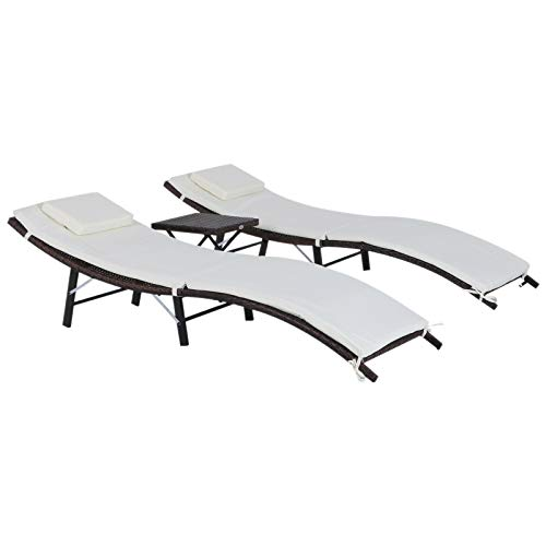 - Patio Daybed Solid Outdoor Relaxer Chaise Set Elegant Garden Poly Rattan Sun Lounger Classic Folding Wicker Table Chair Set Poolside Sunbed 3 Pieces White