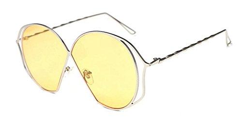 cercle lunettes Pièce soleil vintage en style inspirées polarisées Clair rond métallique retro de Lennon du Jaune HHrqRavwx