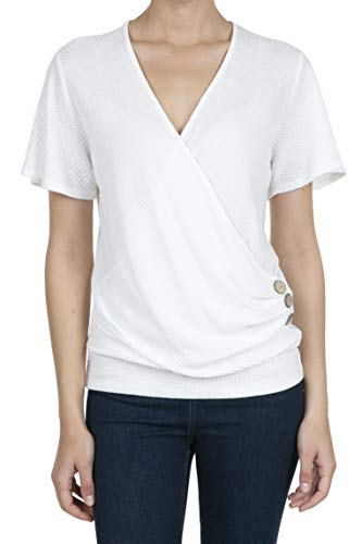 8074 Women's Deep V-Neck Short Sleeve Button Waffle Cross Wrap Tunic Tops White -