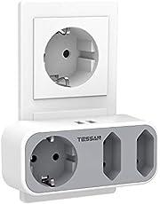 Dubbele stekker voor stopcontact, TESSAN 5 in 1 meervoudige stekkerdoos met 2 USB-aansluitingen, stekkerdoosadapter 3 weg meervoudige stekker met USB-oplader (2 euro aansluitingen en 1 Schuko) Compatibel voor telefoon, grijs