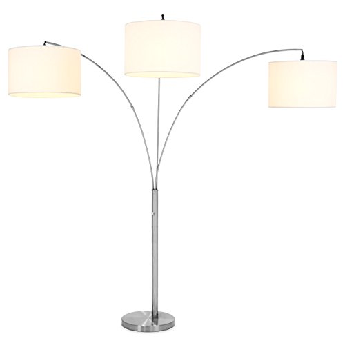 Best Choice Products 40'' Tri-Light Elegant Arc Floor Lamp w/ White Light (Silver) by Best Choice Products