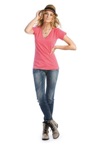 Blondie Classic Damen V-Neck T-Shirt, Farbe:Red;Größe:XS