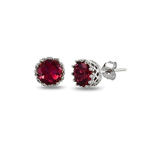 - Sterling Silver Created Red Ruby Crown Stud Earrings