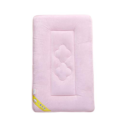 Crystal Velvet Baby Toddler Cot Bed Mattress Quilted 4CM Thick, Both Sides and All Seasons Use, Hard Cotton Support, Breathable and Hypoallergenic Mattress for Cot Beds, Solid Color,Pink,60x120cm by Gvuha
