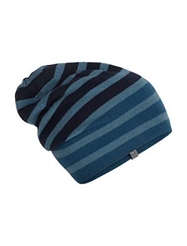 Icebreaker Merino Stripe Slouch Beanie Cold Weather Hats, One Size, Prussian Blue (Hat Wool Ibex)