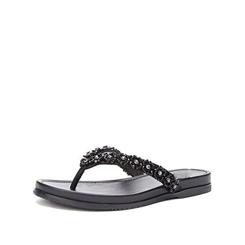 alti casual 35 moda Sandali piatti da DHG basso con Pantofole tacco a Nero Sandali alla tacco Sandali estivi donna Tacchi basso AqRUwzB
