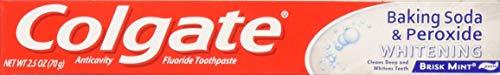 (Colgate Anticavity, Brisk Mint, Baking Soda & Peroxide Whitening Gel Toothpaste, 6 Pack - 2.5 Oz Ea (Total 15 Oz))