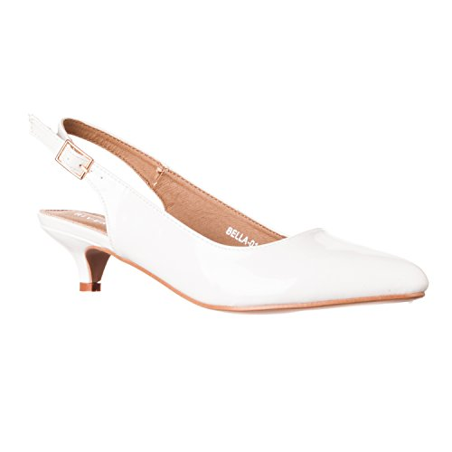 Riverberry Women's Bella Pointed Toe Sling Back Low-Height Pump Heels, White Patent, 10