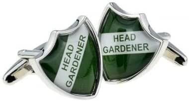 Ashton and Finch Gemelos Head Gardener Green School Shield Badge Style con Caja de Regalo: Amazon.es: Joyería