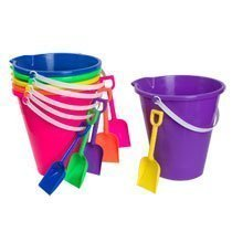 Beach Pails & Shovels - 9 Inch, Assorted Colors (6/pkg)