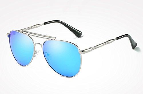 masculina TL plata alta sol Mujer azul UV400 ACCESORIOS Guía gafas de con Gafas blue calidad Sunglasses para Gafas sol de Hombre polarizados silver Aqx4wvpAC